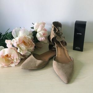 lace up taupe flats